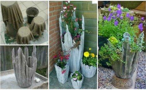 Садовое кашпо из цемента и ткани – универсальный вазон для любого растения своими руками