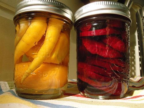 Морковь и свекла в маринаде