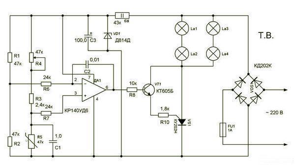 Радиолюбительская схема на операционном усилителе