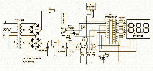 Схема, сделанная на PIC-контроллере – программируемой микросхеме