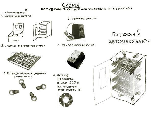 Составляющие элементы самодельного инкубатора