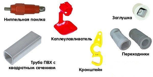 Элементы конструкции ниппельной поилки