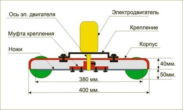 Чертеж простой модели газонокосилки