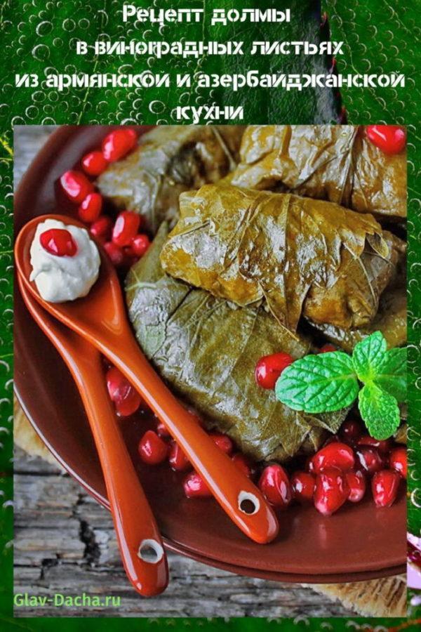 рецепт долмы в виноградных листьях