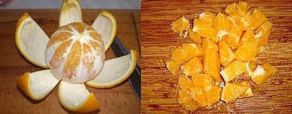 апельсин чистим и нарезаем на дольки