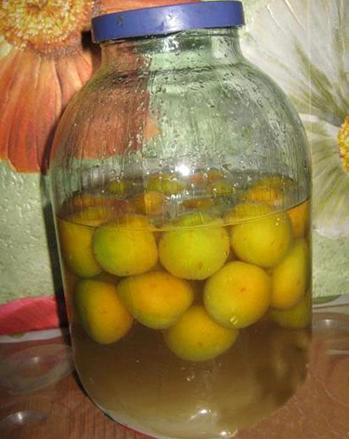 сливы пересыпать сахаром и залить фруктовым спиртом