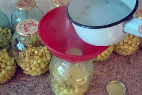 аккуратно залить желтую черешню кипятком