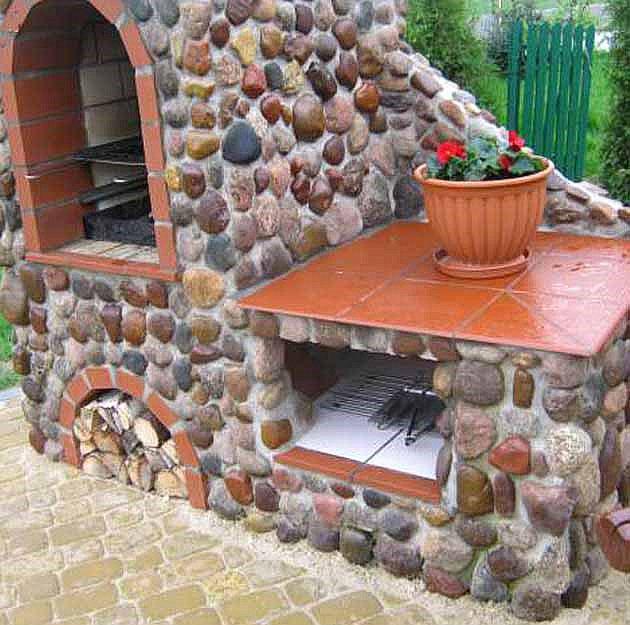 отделка мангала натуральным камнем