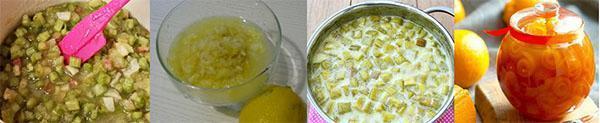 этапы приготовления варенья из ревеня и лимона