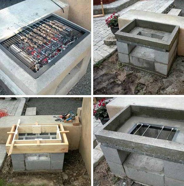 мангал из бетонных блоков