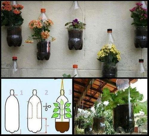 подвесные горшки из пластиковых бутылок