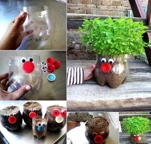дизайн цветочного горшка из бутылки