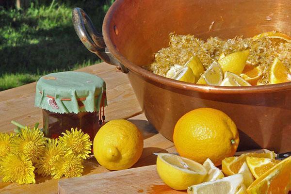 составляющие варенья из одуванчиков и лимона