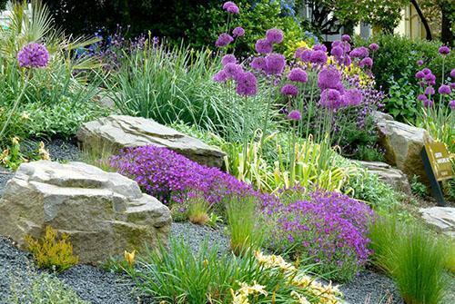 украшение ручья цветами в фиолетовых тонах