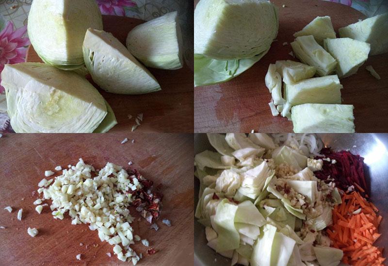 крупно нарезать капусту, чеснок и перец