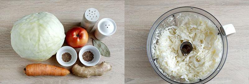 ингредиенты и шинковка капусты