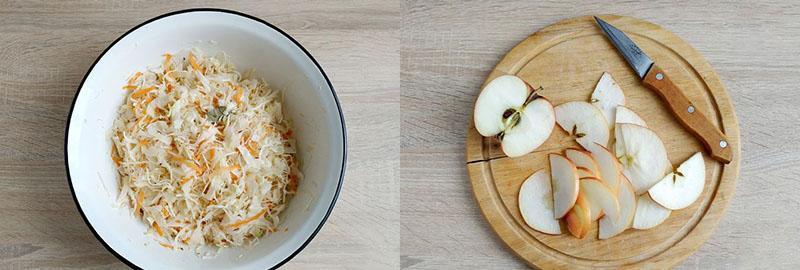 смешать капусту с морковью и нарезать яблоки