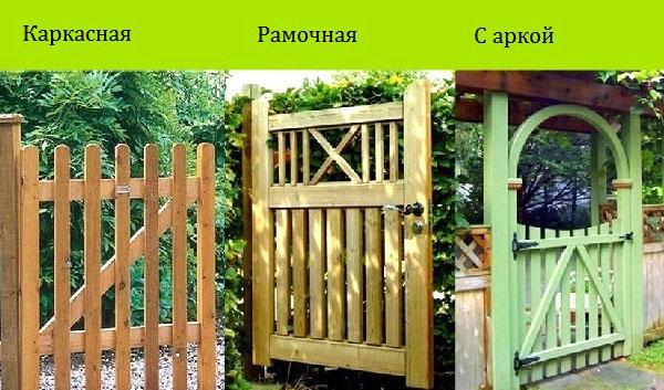 разные конструкции калитки из дерева