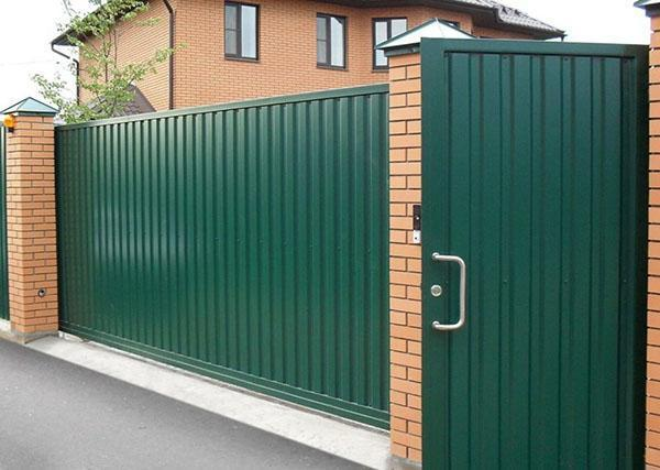 ворота с калиткой из профнастила