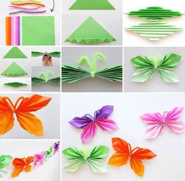 этапы изготовления бабочки гармошки