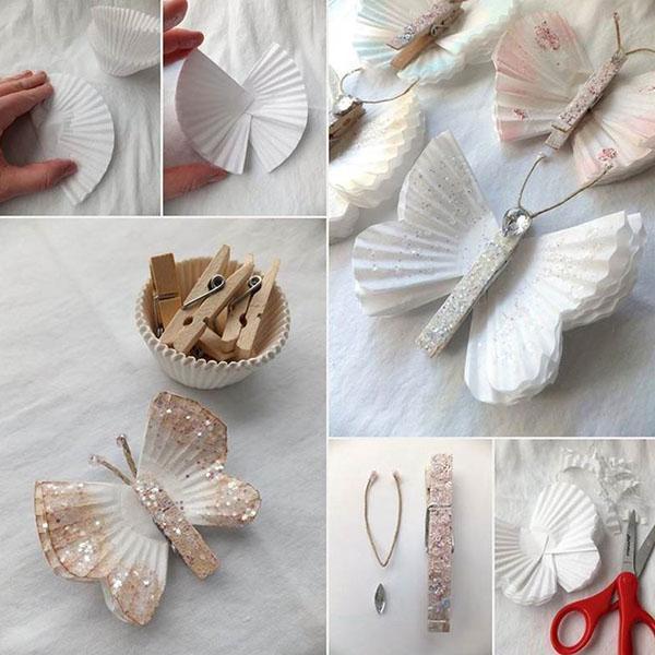 бабочки из корзинок для кексов