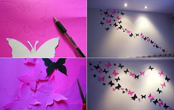 трафареты бабочек на стене