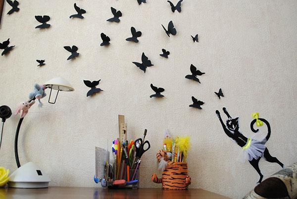 бумажные бабочки в интерьере