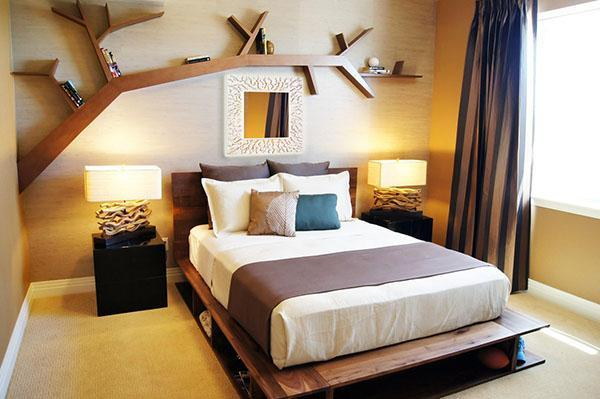 декоративная полка в спальне