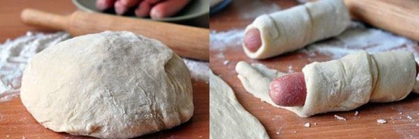 слоено-дрожжевое тесто и формирование сосисок