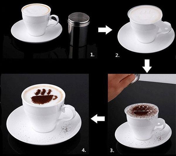 этапы украшения кофе
