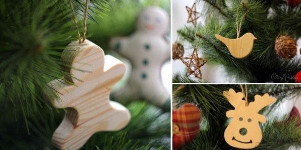 украшаем елку игрушками из дерева