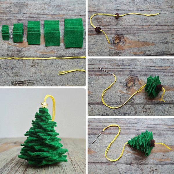 процесс изготовления елки из фетра