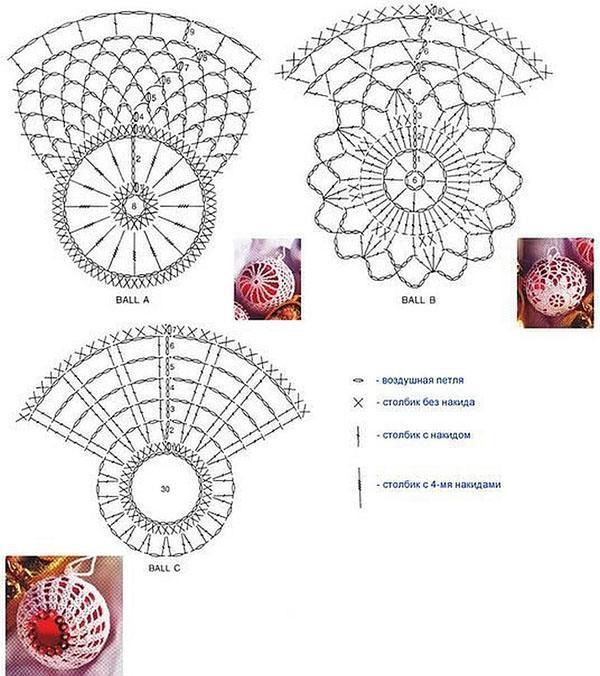 схемы вязания шаров