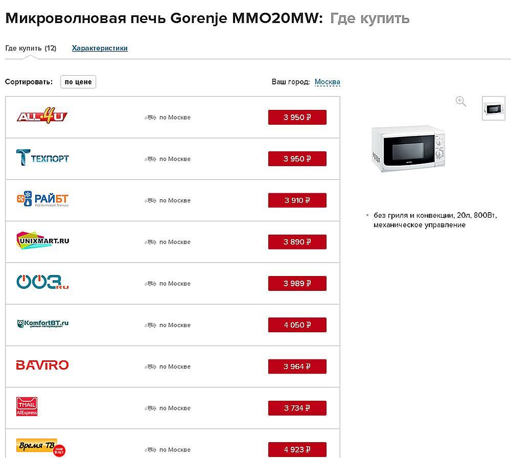 микроволновка в интернет-магазинах России