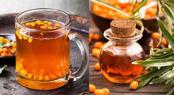 чай с медом и масло из облепихи