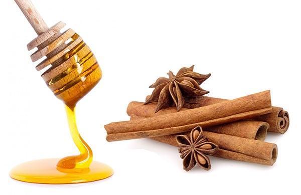 натуральный мед и палочки корицы