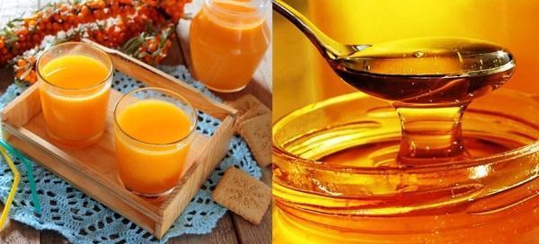 свежий сок облепихи и мед