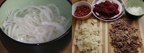 измельчить ингредиенты салата