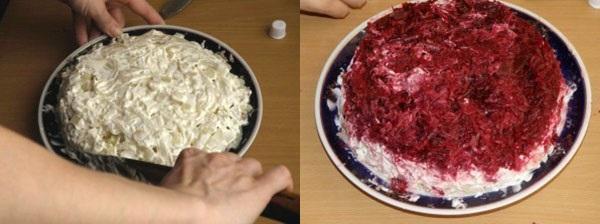 картофельный и свекольный слои