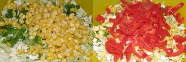 добавляем консервированную кукурузу и нарезанный перец