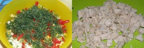 добавляем зелень и нарезанное мясо