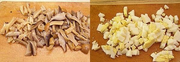 нарезаем яйца и грибы