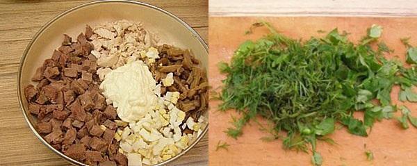 собираем салат и нарезаем зелень