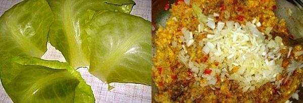 подготовить листья и начинку