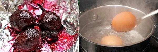 печеная свекла и вареные яйца