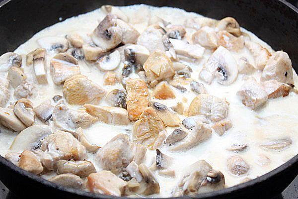 грибы с курицей в соусе