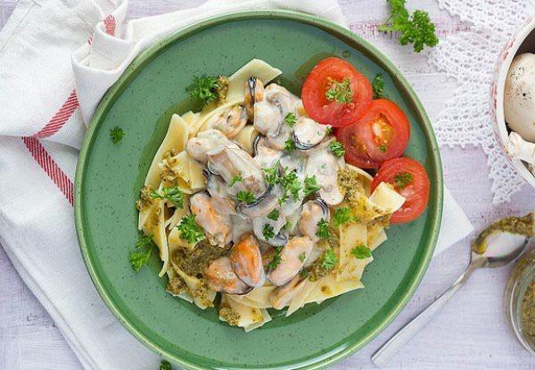 паста с грибами и морепродуктами