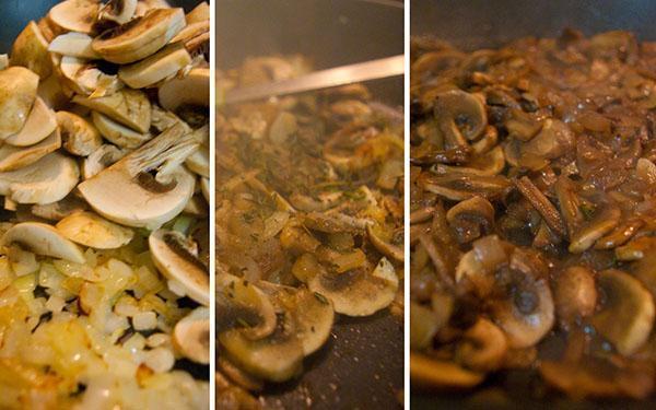нарезаем и обжариваем грибы