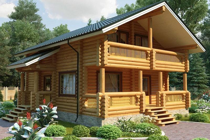 дом из еловых бревен