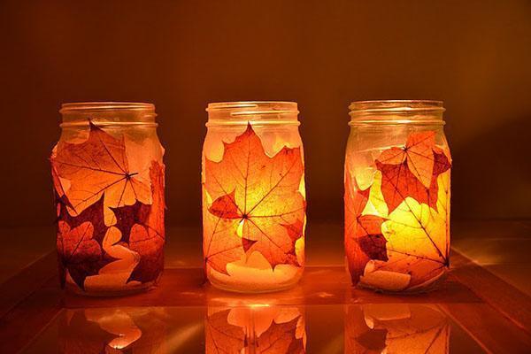 осенний декор свечи